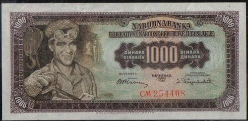 Imagen 1 de 2 de Yugoeslavia 1000 Dinares 1 May 1955 P71b