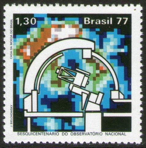 Imagen 1 de 1 de Brasil Sello Mint Observatorio = Telescopio Año 1977