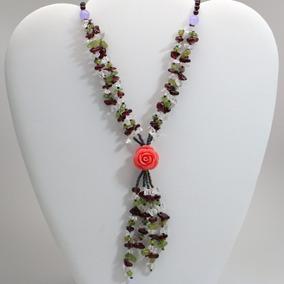 Colar Pedras Naturais Feminino Pedra Jade + Rosa De Resina