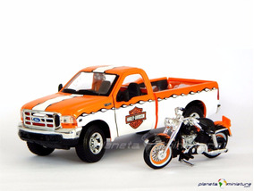 Ford F350 Pickup + Harley Davidson Flh Duo Glide 1:24 Maisto