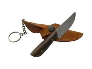 Cuchillo Llavero Madera 5 Cm Acero Inox Vaina Vaqueta