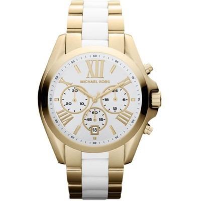 Relógio Michael Kors Mk5743 Dourado E Branco Oversiz