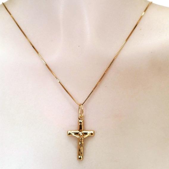 Corrente Luxo 60cm E Pingente Crucifixo Masculino Ouro 18k