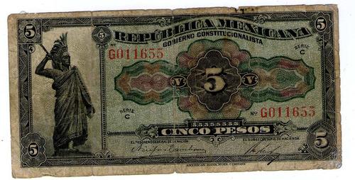 Mexico Revolucion Billete De 5 Pesos 1915 P#s685 - Argentvs