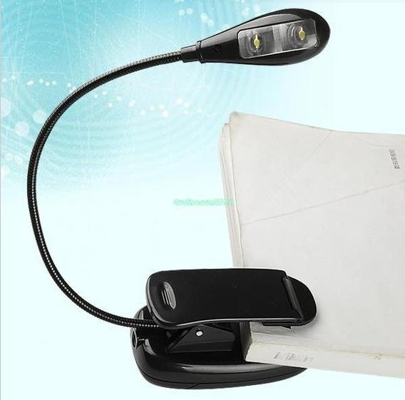 Luminária Led Clip Flexível Portátil Para Leitura 2 Leds