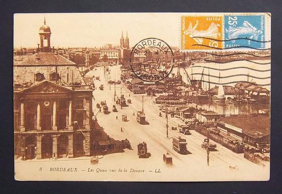 Postal Francia Burdeos Puerto Desde La Aduana Usada Exc 1922