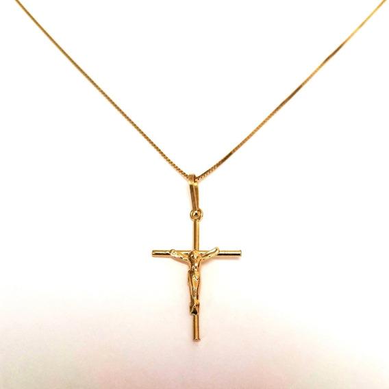 Corrente Masculina 70cm 2.70gs Pingente Crucifixo Ouro 18k