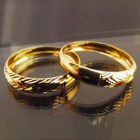 Par Aparador De Aliança Em Ouro 18k Rayado - Pronta Entrega