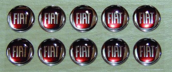 Emblemas / Adesivos Chave Canivete Logo Fiat Vermelho 14 Mm