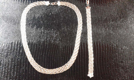 Conjunto Colar E Pulseira Prata 925 Transada/laminada 8 Fios