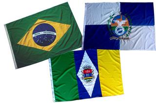 Kit Bandeira Oficial Bordada Brasil Rio Janeiro E Itaguai