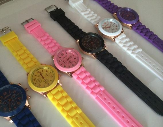 Relógio Geneva Dourado Pulseira Silicone Cores Pronta Entreg