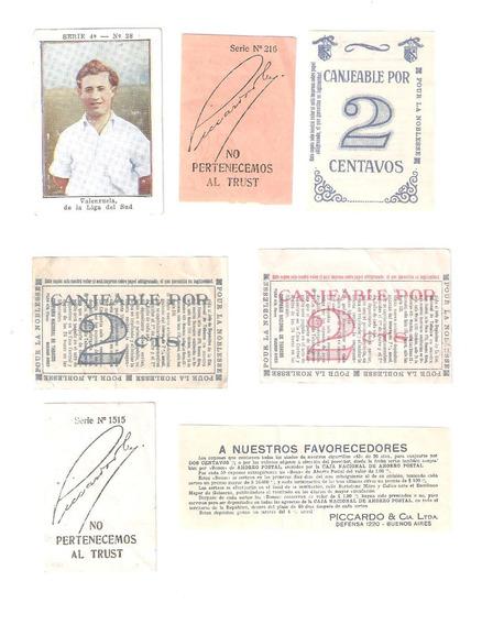 Lote De 7 Cupones De Cigarrillos Antiguos Raros.