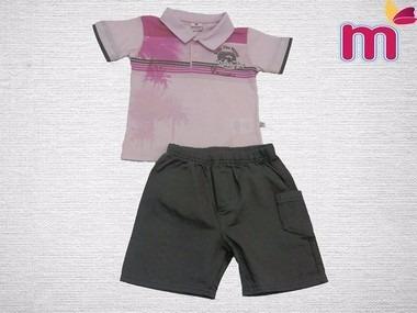 Conjunto Infantil De Menino Camiseta Polo E Bermuda - Menino