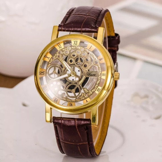 Relógio Social Transparente Couro Esqueleton Dourado Luxuoso