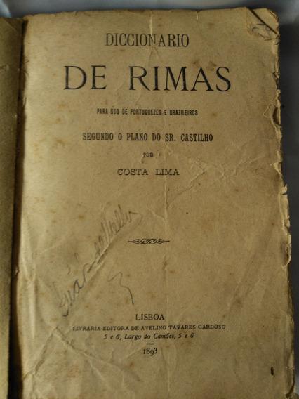 Antigo Livro Diccionário Rimas Para Uso Portuguezes- Nº1021g