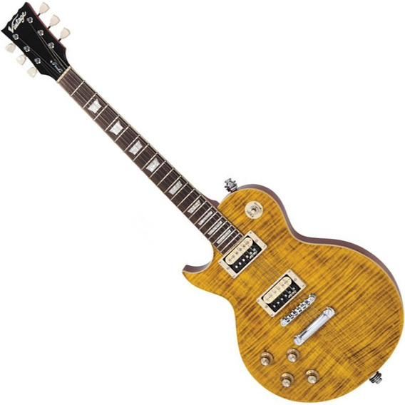 Guitarra Les Paul Canhota Vintage Lv100afd Paradise Amber