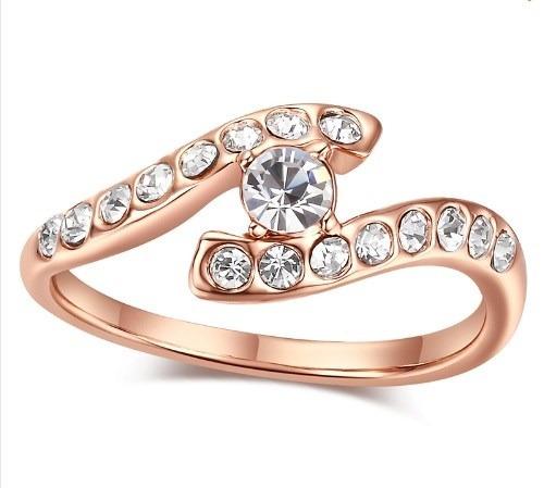 Anillo Baño Oro 18k Con Cristales Tallas 7 Y 8 En Stock