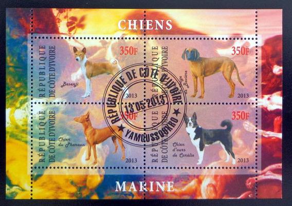 Costa Marfil Perros, Bloque 4 Sellos 2013 Usado L6974