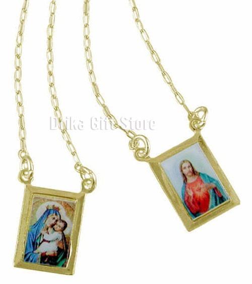 Escapulario Folheado Ouro 18k Feminino Masculino Jesus Carmo