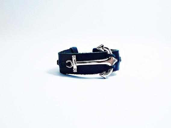 Pulseira Bracelete Masculina De Couro Com Âncora Larga