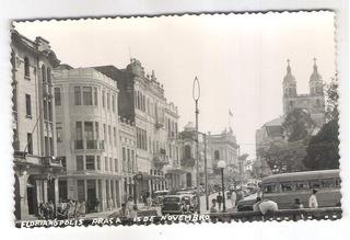 Postal Antigo Florianópolis Praça 15 De Novembro, Carros.