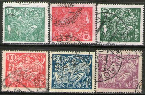 Imagen 1 de 1 de Checoslovaquia 6 Sellos Usados Agricultura Y Ciencia 1920