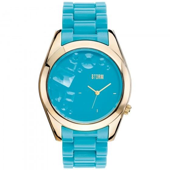 Relógio Storm S.jewelzg Hxhx Analógic Azul Dourado- Refinado