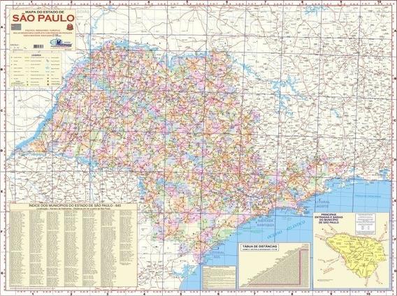 Mapa Estado De São Paulo - 120 X 90cm.