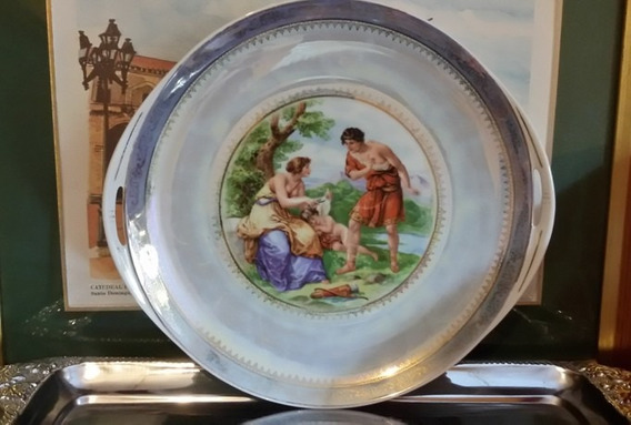Fina Bandeja Porcelana Alemana Art Nouveau Iridiscente Oro