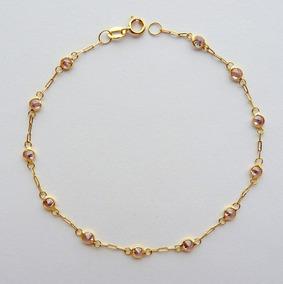 Pulseira De Ouro 18k Com Garantia E Zircônia Rosa 1819