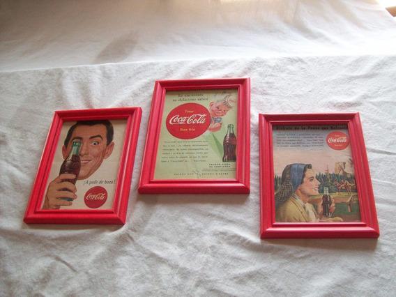Lote De 3 Làminas Retro Originales Enmarcadas De Coca Cola