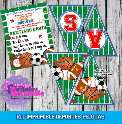 Kit Imprimible Pelotas Deportes Baby Shower Cumpleaños