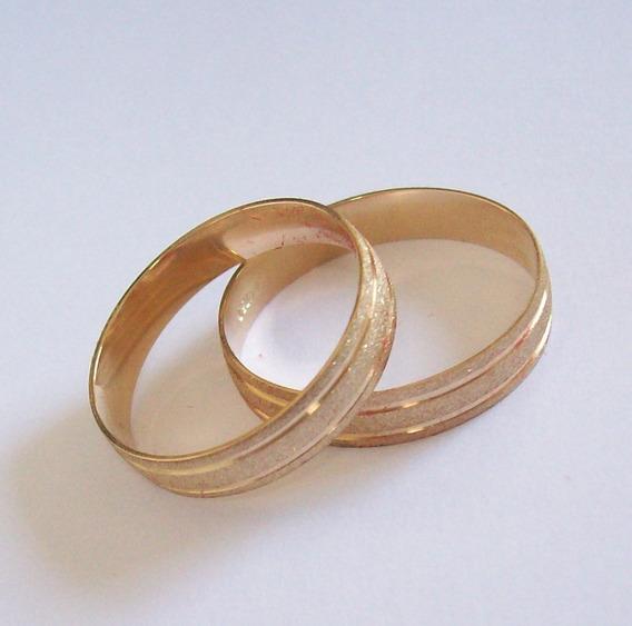 Aliança Fosca Em Ouro Amarelo 18k