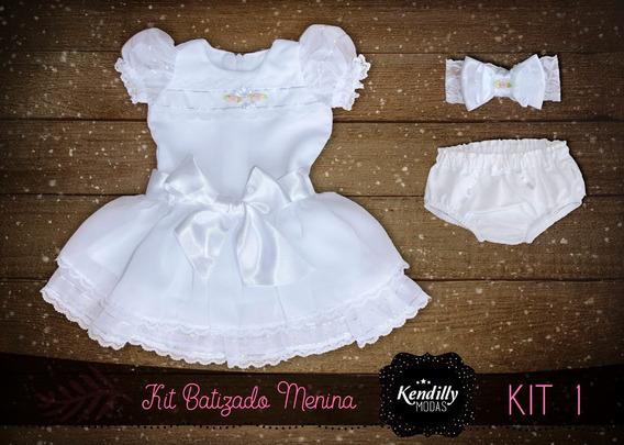 Vestido Chiffon Princesa Batizado Menina Bebê - 3 Peças