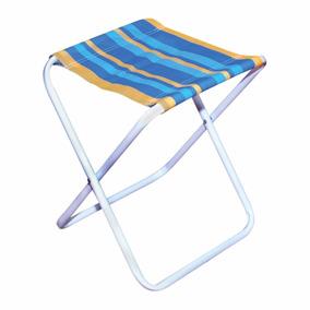 Banqueta / Cadeira Dobrável Camping/ Pesca Mor Aço Azul