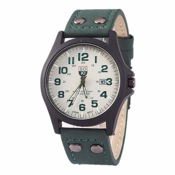 Relógio De Pulso Masculino Importado Pulseira De Couro