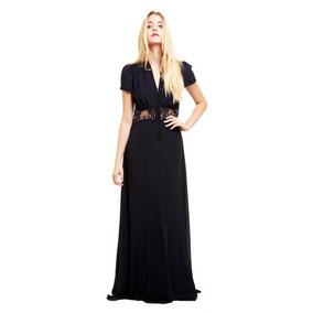 Vestido Jarlo Kelly Gasa Negro Largo T36/ Xs Nuevo Años 20