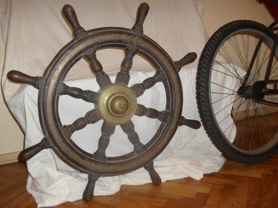Timon 76cm Barco Original Centro Bronce Rueda Cabillas