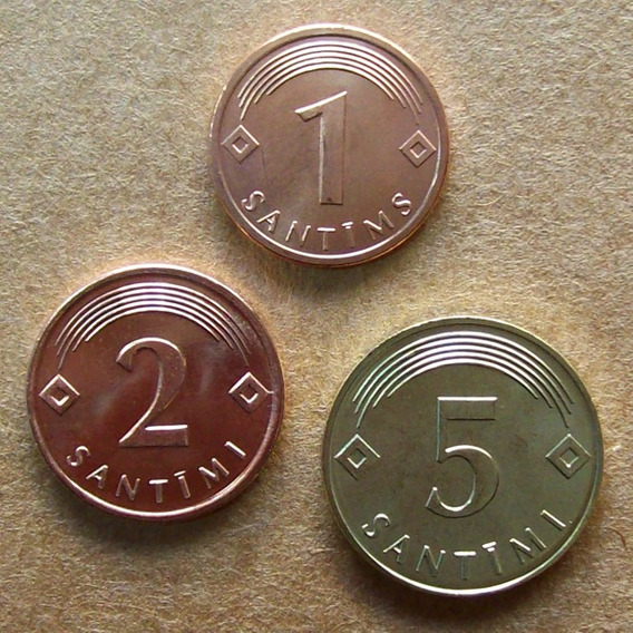 Letonia - Lote Monedas 1, 2 Y 5 Santimi 2007 / 09 ¡ S/circ!