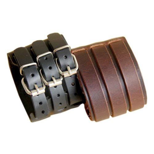 Pulseira Bracelete De Couro Legítimo 3 Fivelas