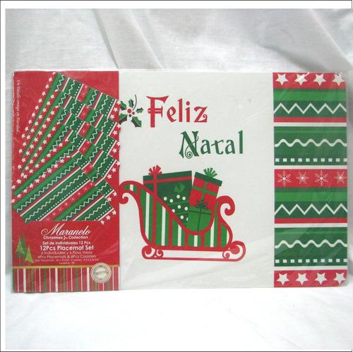 Juego De Manteles Individuales Feliz Navidad + 6 Posa Vasos