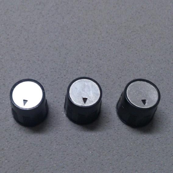 3 Knobs Potenciômetro Estriado Plastico Preto Com Seta Lb