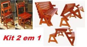 Projeto De Moveis Cadeira Vira Escada + Banco Que Vira Mesa