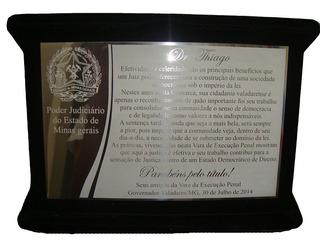 Placa De Homenagem Em Aço Inox Com Estojo De Veludo - 36x26