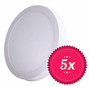 5 Painel Plafon Luminaria Sobrepor Teto Led Redondo 18w