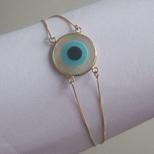 Bracelete Dupla Ouro18k- Olho Grego