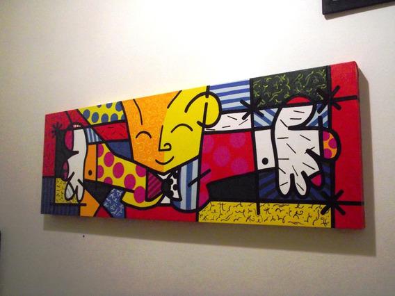 O Abraço Releitura De Romero Britto 30x90cm Pintado A Mão