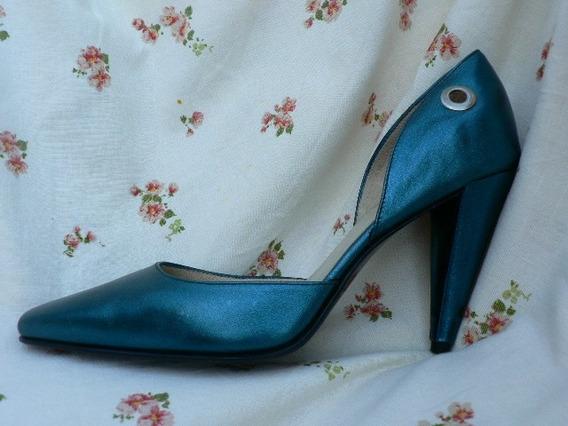 Zapato Sandalia Nuevo 38 Azul Verde Petroleo Demaria