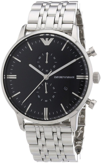 Relógio Empório Armani Ar0389 Prata E Preto Com Caixa Origin